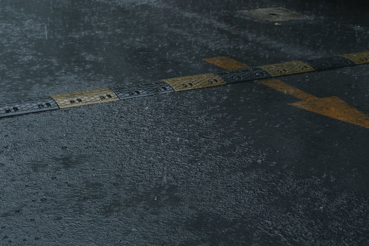High angle view of wet street