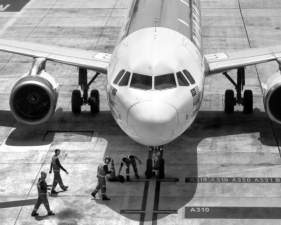 Airplane Transportation Adult Men Airport Air Vehicle Occupation Airplane Hangar Only Men Outdoors People Day Aerospace Industry Blackandwhite Photography Workingday Phuket, Thailand Phuket Airport