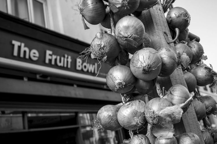 Porthcawl South Wales Architecture Black And White Building Exterior Close-up Day Food Fragility Low Angle View Monochrome Nature No People Onions Onions For Sale Outdoors