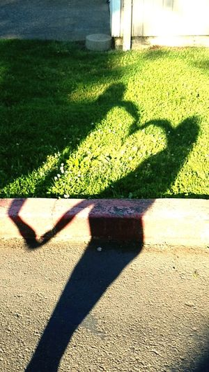 Love Shadow Sunlight Focus On Shadow Outdoors Day Green Color No People Grass Heart Silhouette Sunbeam Sunlight People