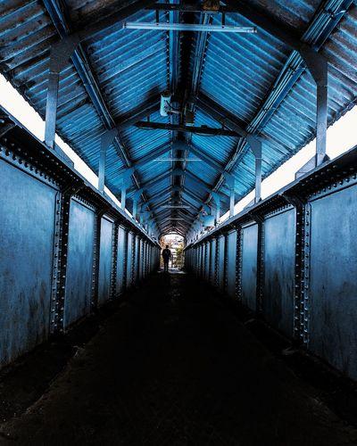 Illuminated bridge in tunnel