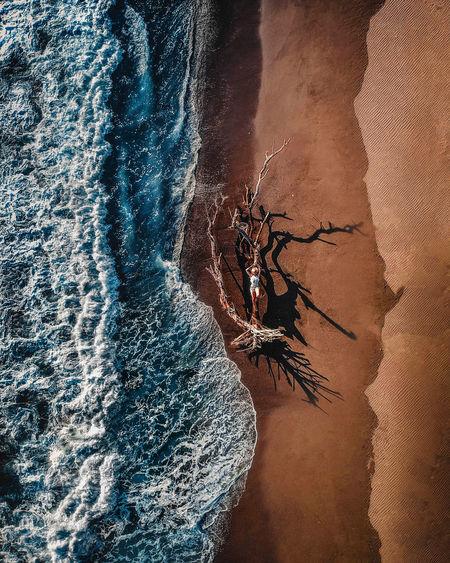 Tiny me and the ocean Water Rock Formation Rock Land Nature Beauty In Nature Day Sea High Angle View Scenics - Nature Outdoors Sand Travel Ocean Drone  Aerial View Blue Waves Pacific Ocean Destination Environment Beach Abstract Girl Nature Photography