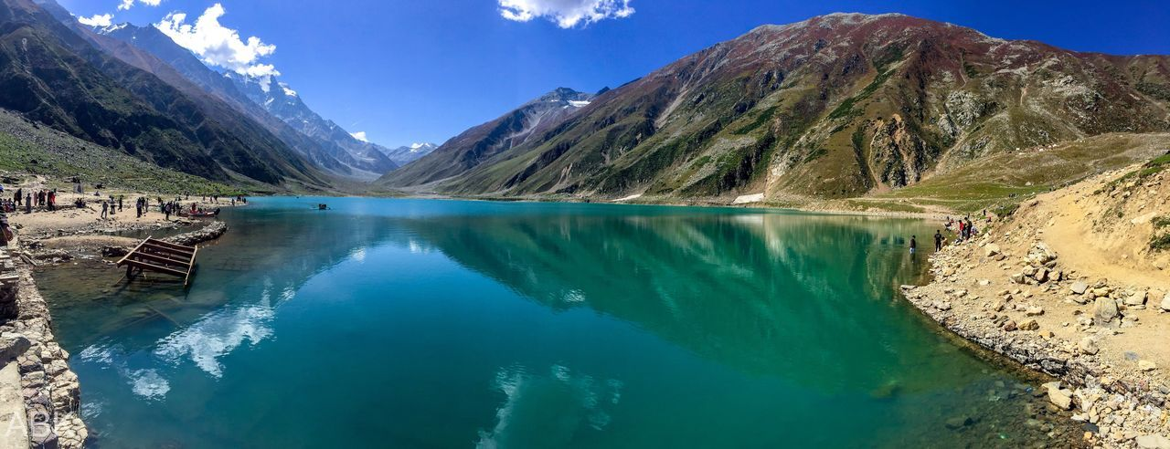 Lake Saiful Muluk is a mountainous lake located at the Mountain Water Scenics - Nature Beauty In Nature Lake Tranquil Scene Tranquility Nature No People Blue Reflection First Eyeem Photo