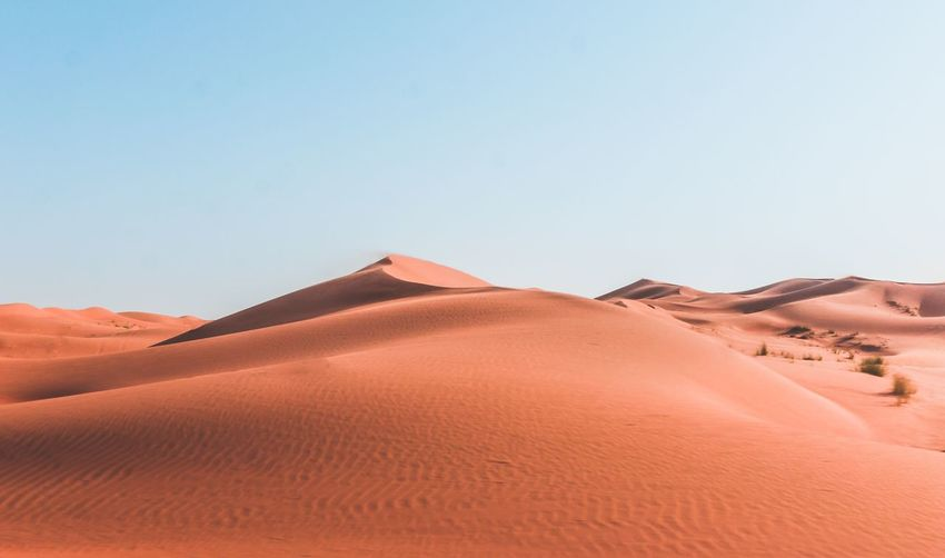 Tranquil View Of Sand Dunes In Desert Against Clear Sky