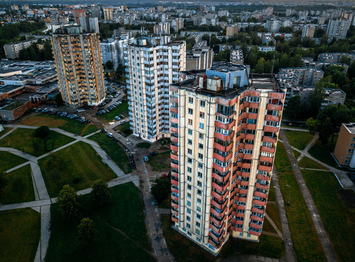 Lietuva Lithuania Apartment Architecture Building Building Exterior Built Structure City Cityscape Crowd Day High Angle View Kaunas Luxury Modern Nature Office Office Building Exterior Outdoors Residential District Road Skyscraper Tall - High Transportation Tree