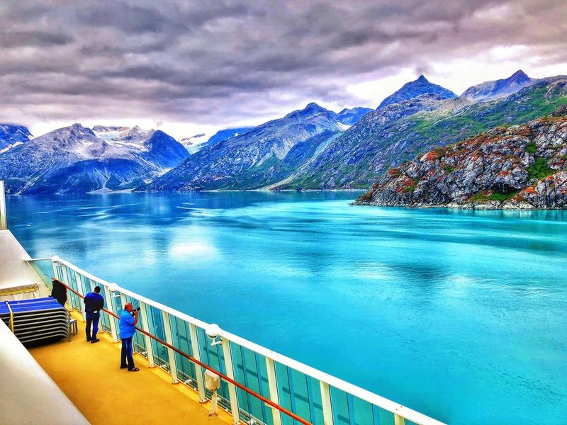 Norwegiancruiseline Norwegianpearl Cruise Ship Alaska Glacierbay GlacierBayAlaska GlacierBayNationalPark Glacier Water Mountain Sky Cloud - Sky Nature Swimming Pool Beauty In Nature Scenics - Nature Railing Outdoors
