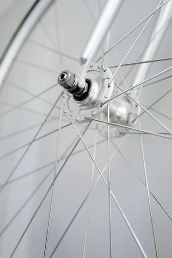 Low angle view of bicycle wheel
