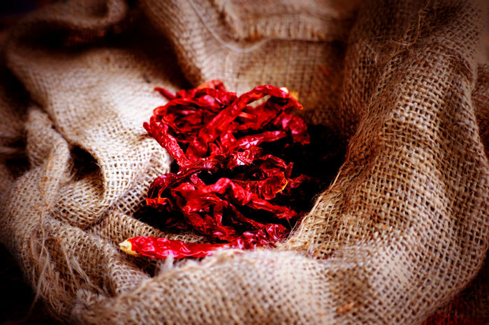 Dried red chili in sackcloth. Chilli Close-up D Day Flower Maroon No People Outdoors Red Red Sackcloth