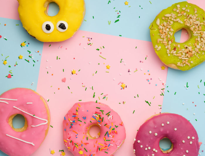 High angle view of multi colored donut on table