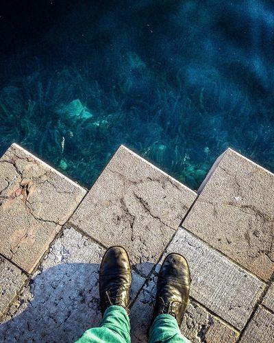 Edge Salo Deep Depths Garda Lake Limit Personal Perspective Shoe Standing Water