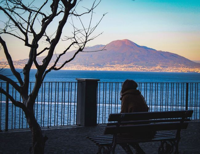 Amazing view Coast Italy View Sorrento Panorama Colorful Bench Sorrento Streetphotography darkness and light Shadows & Lights Campania Vesuvio Vulcano Photography Light And Shadow Stunning Water Mountain Sea Clear Sky Rear View Tree Sky Architecture Scenics Horizon Over Water Seascape Stay Out