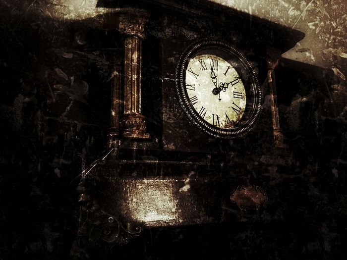 Old Old Fashion Clock Indoors  Dark Dusty Roman Numerals Browm