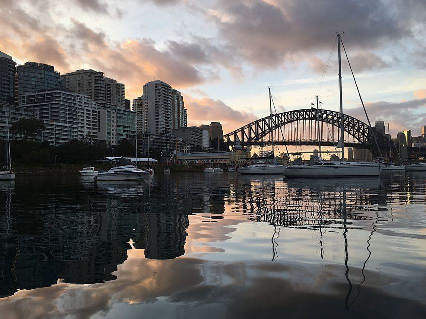 EyeEm Selects Sunrise_sunsets_aroundworld Architecture Reflection Cloud - Sky Travel Destinations Bridge - Man Made Structure Sunrise_Collection Cityscape Sydney Harbour Bridge