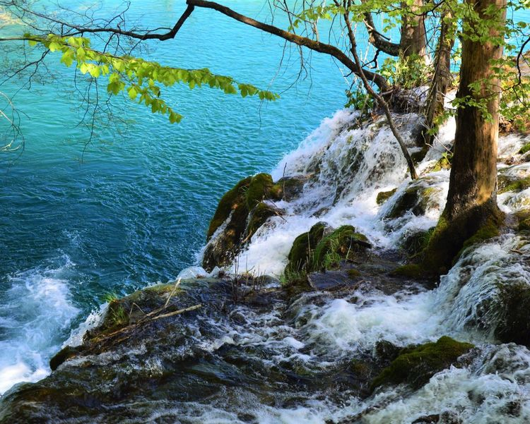 Waterfall Water Waves Waves, Ocean, Nature Wave Blue White Summer Nature Green Great Atmosphere Relax Relaxing Naturelovers Nature Photography Blue Wave Simple Simplicity Peace Peace And Quiet Peaceful at Plitvice National Park in Croatia