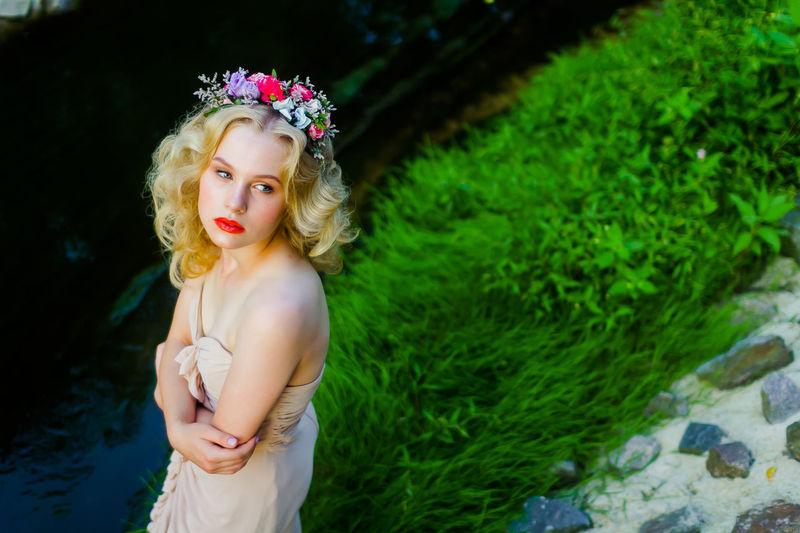 Beauty Blond Hair Crown Floral Garland Flower Green Color Make-up Melancholy Summer Summertime