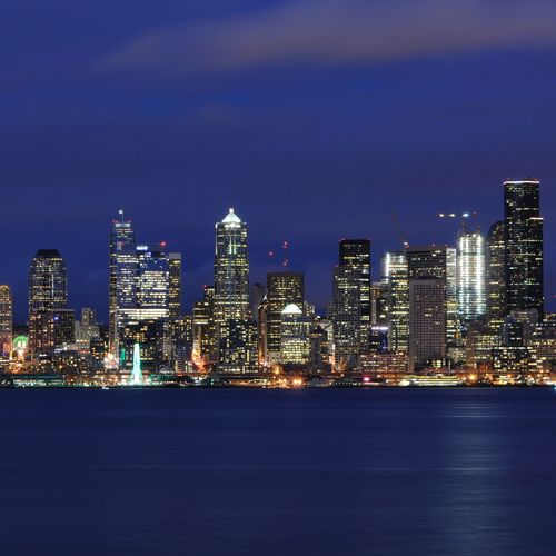 Cityscape Skyscraper Urban Skyline Illuminated Night Architecture City Downtown District Travel Destinations Building Exterior Business Finance And Industry Modern No People Outdoors Sea Scenics Sky Seattle Waterfront Long Exposure
