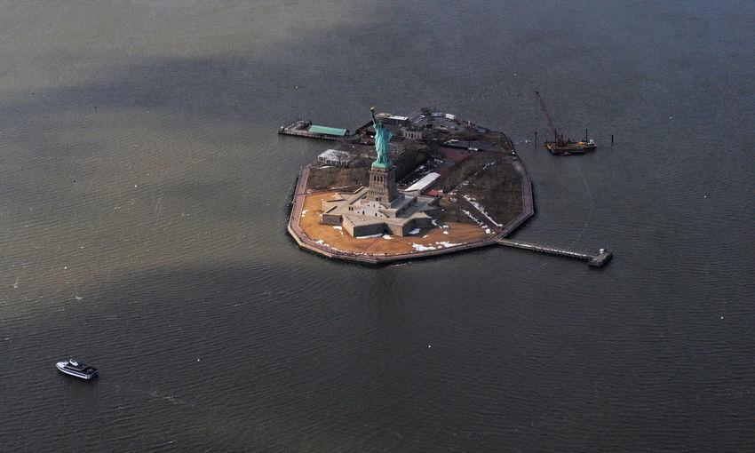 High angle view of abandoned ship on sea
