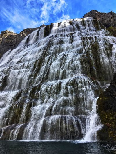 Nature Beauty In Nature Water Low Angle View Sky Tranquility Scenics Outdoors Waterfall No People Day Mountain Iceland Dynjandi 100m Travel Adventure Picoftheday