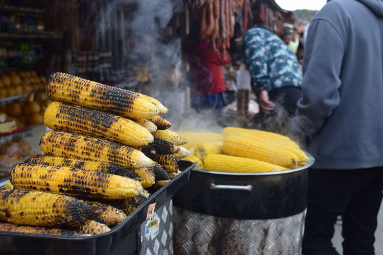 Roasted Corn For Sale At Market