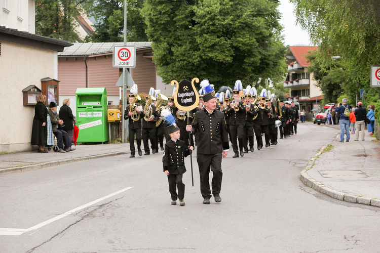 Hausham, Germany - July 17, 2016: Knappenkapelle Kropf mill during parade in Hausham / Germany Band Miners Coal Coal Mine Coal Mining Events Germany Hausham Knappenkappelle Kropf Mill Man Marching Band Mine Mine Closure Miners Pageant Panel Support Parade People Pitch Coke Shut Down Uniform Women