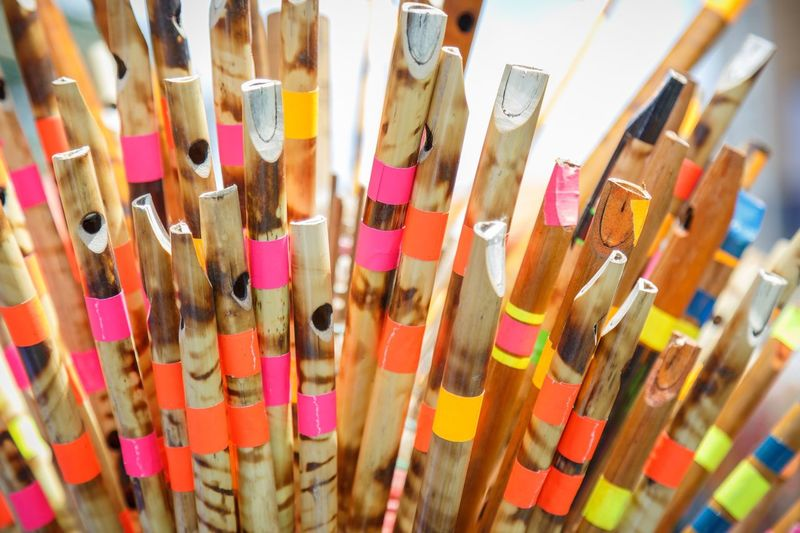 Close-Up Of Multi Colored Flutes