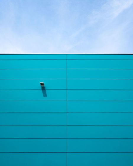 Wallfeature Blue No People Copy Space Wall - Building Feature Minimalism Minimalist Photography  Fujix_berlin Ralfpollack_fotografie Architecture Built Structure Sky Day Building Exterior Pattern Backgrounds Outdoors Building Turquoise Colored