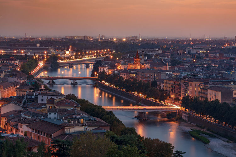 A day in verona, sunset on the city