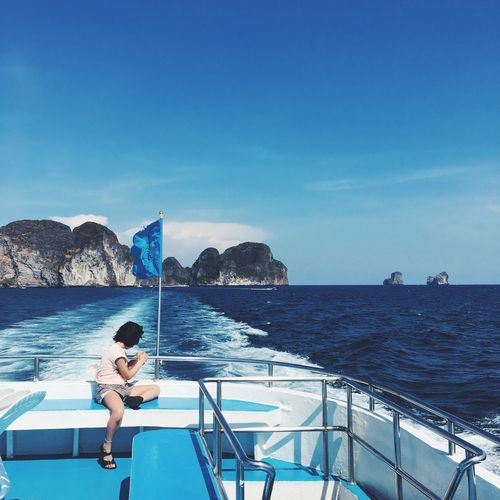 Deep blue ocean. Beauty In Nature Blue Boat Deck Day Holiday Leisure Activity Mountain Nature Ocean Outdoors Phuket Scenics Sea Sky Sunlight Tranquil Scene Tranquility Vacations Water Young Adult