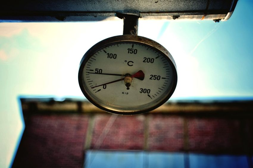Temperature Low Angle View Clock Face Hanging Roman Numeral Close-up Abandoned