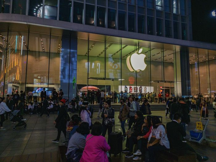 Group Of People Crowd Real People Large Group Of People Architecture Built Structure Building Exterior City Men Women Lifestyles City Life Glass - Material Adult Street Transportation Window Reflection Modern Apple Store Nanjing Road China