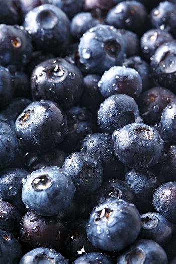 Full frame shot of wet blueberries