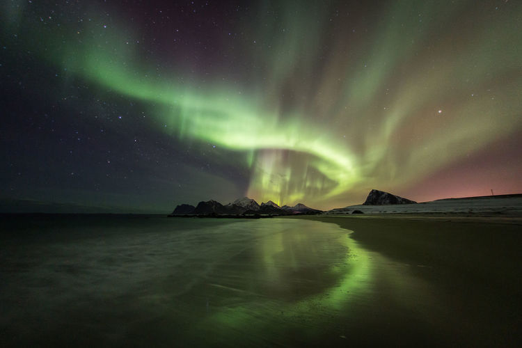 Scenic view of sea against aurora borealis at night