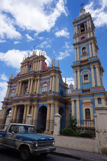 Church Salta  Spirituality Argentina Blue Church Blue Sky Colorful Holy Holy Place Old Car Salta, Argentina