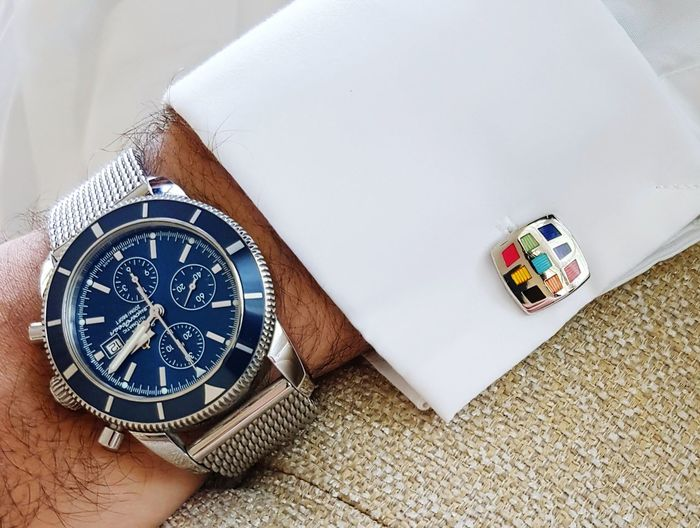 Breitling Superocean Heritage Blue Breitling Watch Watch Luxury EyeEm Selects High Angle View Time Day Indoors  No People Clock Face Close-up