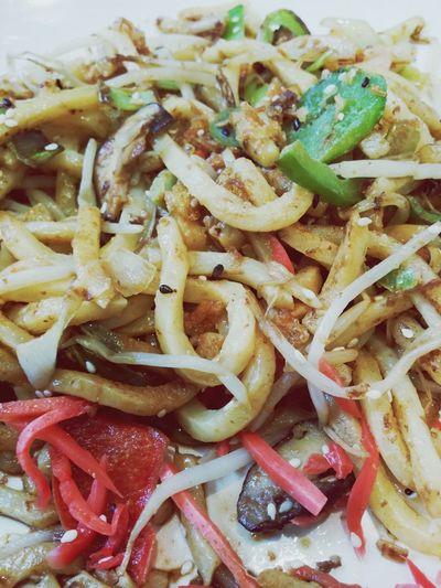 Udon Noodles with Chicken & Shrimp