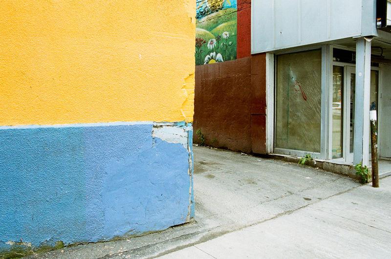 Yellow door of house