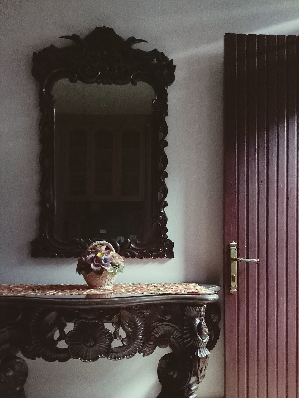 indoors, no people, home interior, old-fashioned, statue, tap, curtain, animal themes, day, mammal