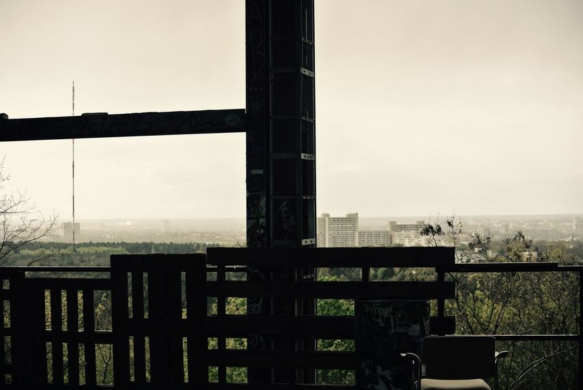 From up high. Sky No People Nature Architecture Built Structure Day Outdoors Safety Clear Sky Protection Barrier Security Boundary Railing Fence Building Exterior Metal Field Window Teufelsberg Teufelsberg Berlin Berliner Ansichten Misty Misty Morning