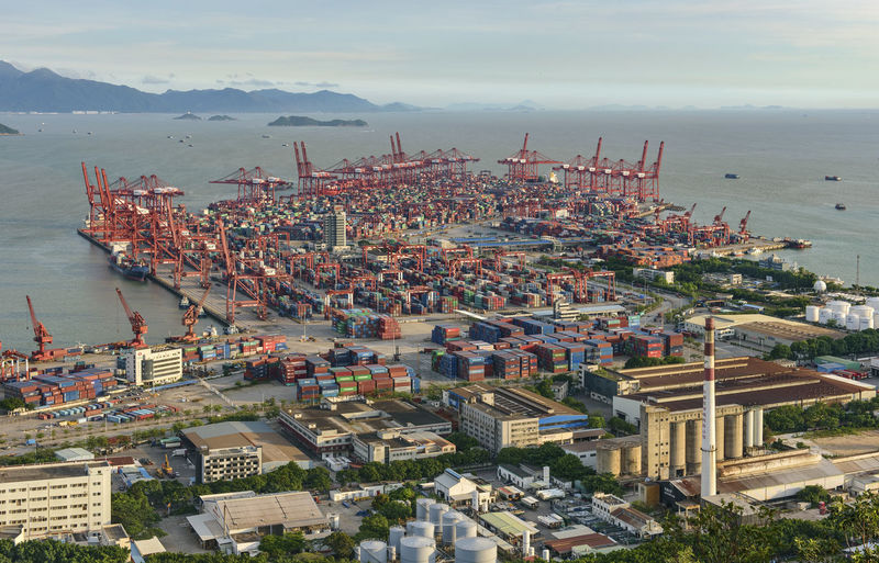 Chiwan container terminal in Shenzhen, China Architecture Boat Boats And Water Building Exterior Built Structure China Chiwan Cityscape Container Container Port Container Ship Containers Day Detail Harbor High Angle View Industrial Landscapes No People Ocean Outdoors Pearl Delta Port Sea SHEKOU Shenzhen