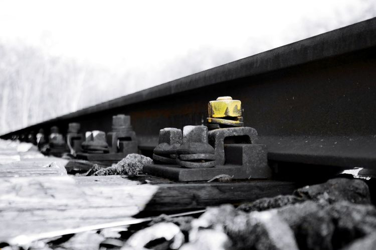 yellow Screw Yellow Train Track Train Station Colorsplash My Point Of View Darmstadt Kranichstein Abstellgleis Dead End Focused Focus Object vanishing point The Way Forward Diminishing Perspective