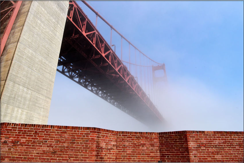 Golden Gate Bridge @ Fort Point 16 Fog San Francisco Bay Golden Gate Bridge 1937 Fort Point 1861 Forts Rooftop Low Angle View Bridge Architecture Bridge Tower Bridge Span Diminishing Perspective Vanishing Point Architectural Detail Wall Parapet Wall Brick And Mortar Steel Reduced Visibility Bridge - Man Made Structure