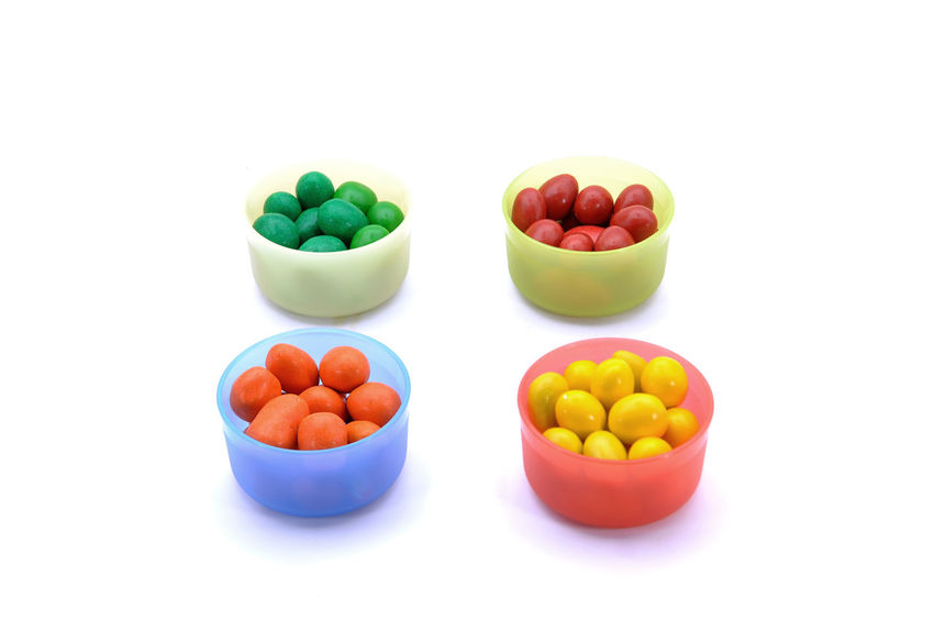 Various Color Of Chocolate Beans Over White Background Ant Ball Bean Buttons Candy Chocolate Color Colored Coloured Colourful Confectionery Dessert Gourmet Multi Colored Smarties Snack Sugar Sweet Treat White Background Yummy