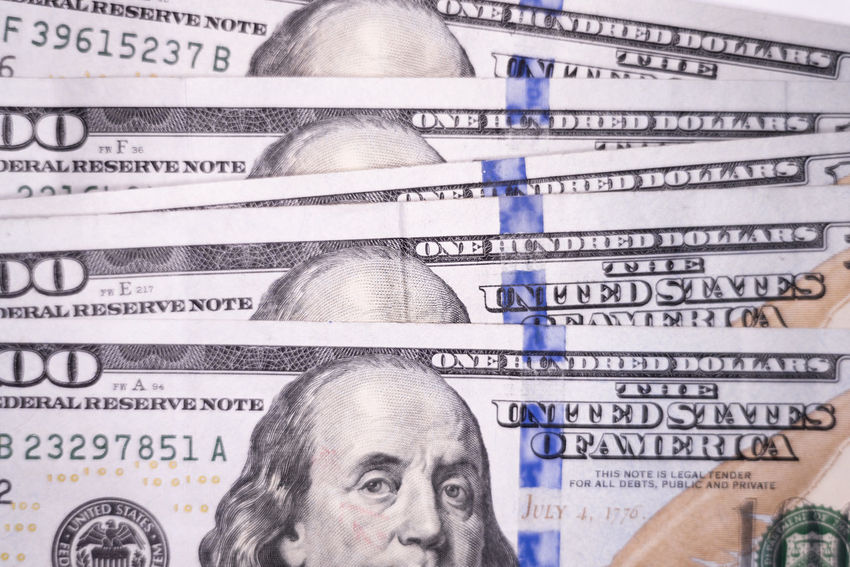 Stack of one hundred dollar bills 100 Dollar Bills American Benjamin Franklin Bills Bitcoin Buying Cash Compensation Currency Digital Fraud Management One Hundred Pay Payday Payment Salary Selling Tax Wages Wallet Wealth
