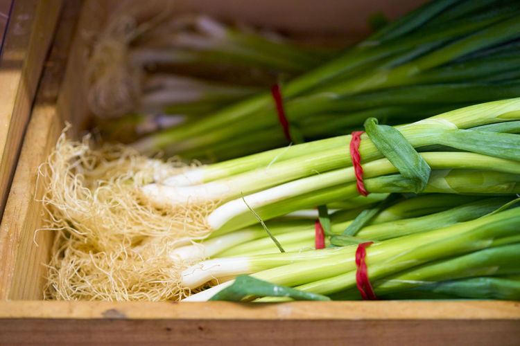 High angle view of leeks for sale in crate at market