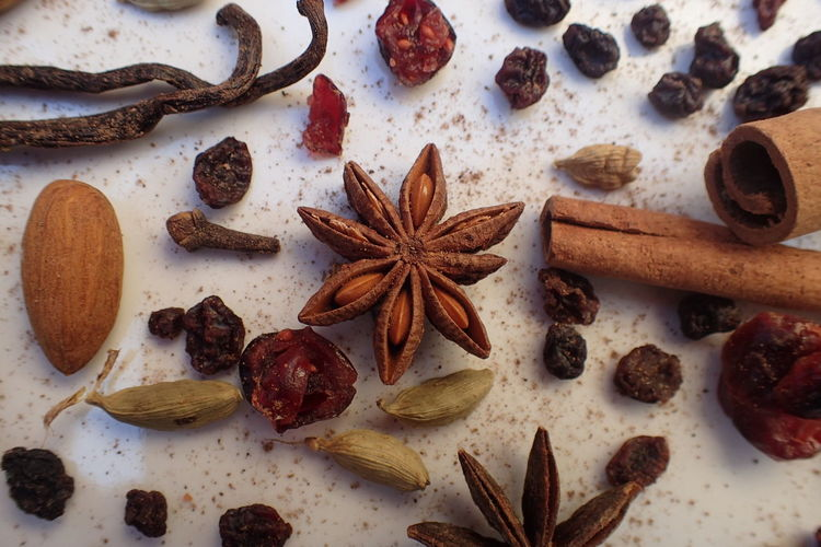 Directly above view of scattered spices on table