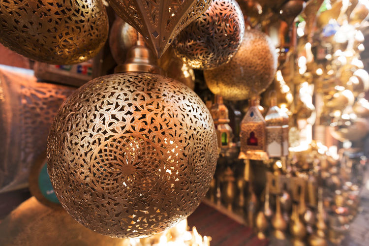 Close-up of christmas decoration hanging for sale