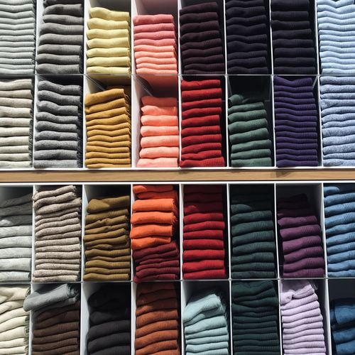 Full frame shot of multi colored clothes on rack