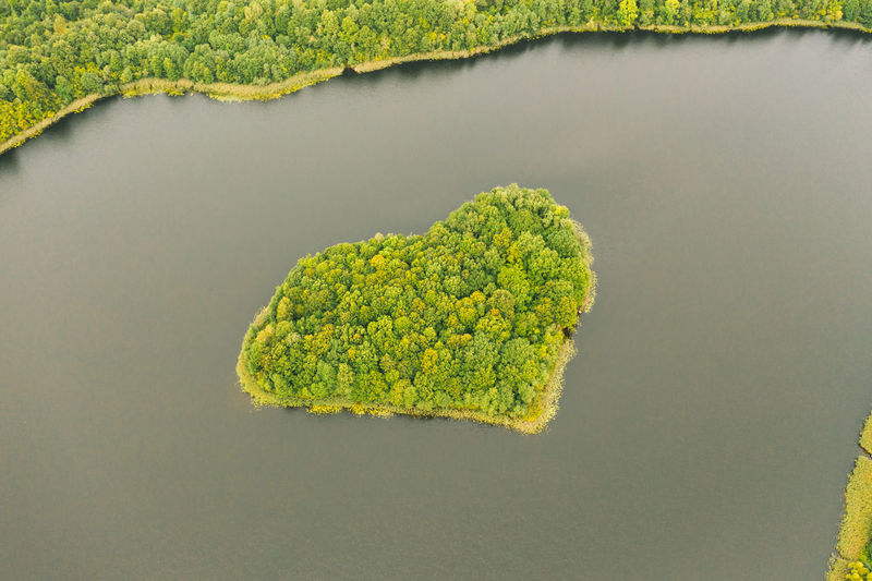 Aerial view over an island. the island is formed as a green heart.