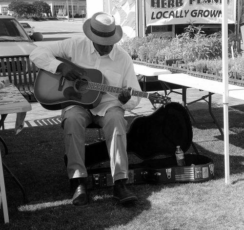 Street Music Black & White Coastal Carolina Waterfront Market
