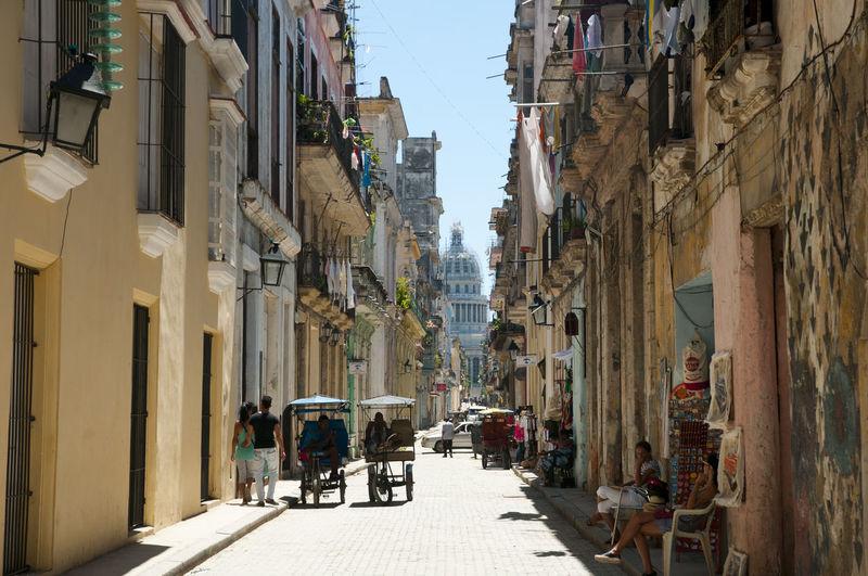 Colorful Street City Cuba Habana Havana Old Street